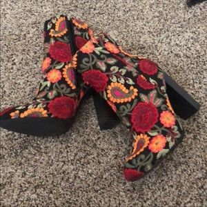 Forever 21 Floral Booties
